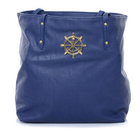 Navy Anchor Medallion Tote - Unique Vintage - Prom dresses, retro dresses, retro swimsuits.
