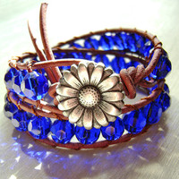 Bracelet Leather Wrap Blue Glass Crystal Beads by MadeByDeby