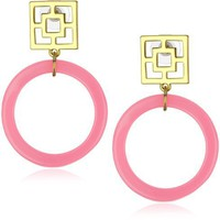 Trina Turk Brick And Gold Hoop Earrings In Hot Pink