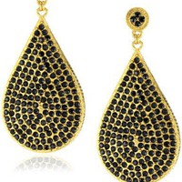"Azaara ""Crystal"" Jet Teardrop Earrings"