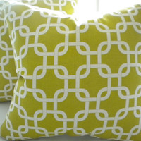 "Designer Pillow Cover - Modern Summerland Yellow - ""16 x 16"""