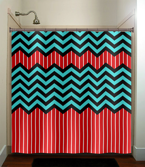 Red Stripe Aqua Blue Chevron Shower From Tablishedworks On Etsy
