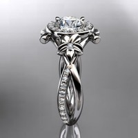 14kt white gold diamond leaf and vine wedding ring,engagement ring......