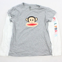 Paul Frank Gray Layered Long Sleeve T-Shirt - Misses Small Petite