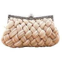 Chicastic Pleated and Braided Rhinestone studded Wedding Evening Bridal Bridesmaid Clutch Purse Bag - MORE COLORS!