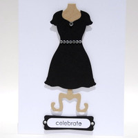 Celebrate Handcrafted Birthday Card With Little Black Dress And Bling