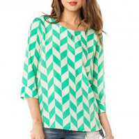 Viceory Blouse in Mint - ShopSosie.com