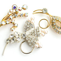 Vintage Rhinestone Flower Brooch Lot - 3 Silver & Gold Tone Faux Pearl, Aurora Borealis, Rhinestone Bridal Jewelry Pins / Elegant Collection