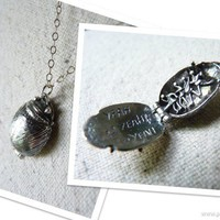 Sterling Silver Beetle Beatles Song Opening Charm Necklace