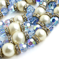 Vintage Blue Glass Bead Rhinestone Necklace - Multi-Strand Faux Pearl Costume Jewelry / Aurora Borealis Sparkle