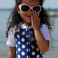 BABY GIRLS 1 PIECE UV50 SUNSUIT - NAVY SPOTS by SNAPPER ROCK