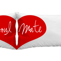 Soulmate heart pillowcases gift idea for boyfriend, girlfriend. or a couple.