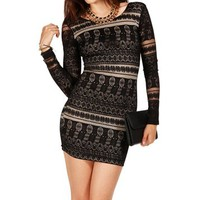 BlackNude Trial Lace Long Sleeve Dress