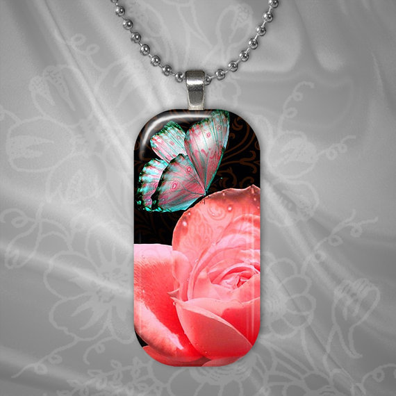Iridescent Butterfly on a Pink Rose Glass by TheShimmeringPalace