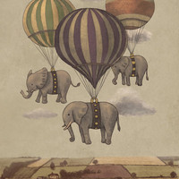 Flight of the Elephants  Art Print by Terry Fan | Society6