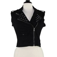 Studded Crop Moto Vest Black