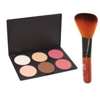 Professional 6 Color Makeup Cosmetic Blush Blusher Contour Powder Palette + Blush Powder Brush