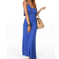 Royal Blue Ruffle Maxi Dress