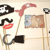 8 Piece Pirate Party Props  Pirate Theme Photo Booth  Pirate Props Wedding Photo Booth  Wedding Photo Props