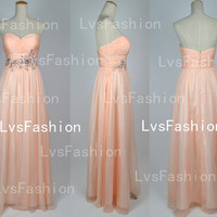 Strapless Sweetheart with Beading Chiffon Pink Prom Dresses Bridesmaid Dress, Wedding Party Dresses, Evening Gown, Evening Dresses