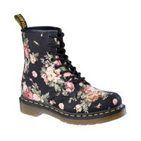Womens Dr. Martens 8 Eye Flower Boot, Black Flower | Journeys Shoes