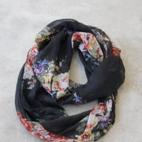 Black Bouquet Infinity Scarf [2231] - $12.00 : Vintage Inspired Clothing & Affordable Summer Frocks, deloom | Modern. Vintage. Crafted.