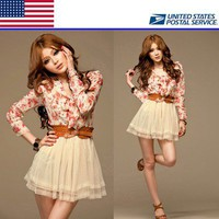 Korean Sweet Womens Girls Flowers Chiffon Tulle Dress Belt S M US Local Shipping