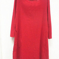 Red linen asymmetric long sleeved shirt