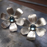 Sterling flower earrings with blue topaz - the metal challenge 365 day 8
