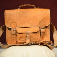 Leather Messenger Bag for Men and Women - 15 Inch | leatherbagsindia - Bags & Purses on ArtFire