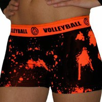 Volleyball Orange Splat Printed Flip Waist-Band Spandex Compression Shorts