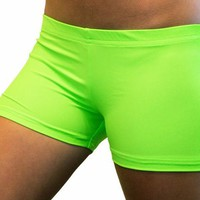 Bright Neon Lime Green 2.5 inch inseam Spandex Compression Short