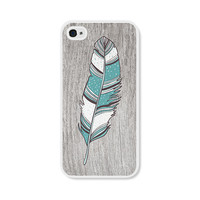 Turquoise Boho Feather iPhone 4 Case - Plastic iPhone 4s Case - Wood Tribal Southwest iPhone 4 Skin - Blue Brown and White Cell Phone Case