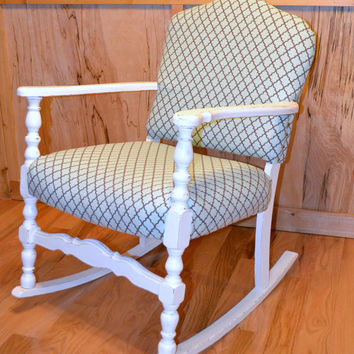 Vintage Shabby Chic Rocking Chair White Turquoise Upcycle Recycle