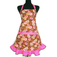 Chocolate Doughnut Apron,  Retro Kitchen Style with Pink Hostess Ruffle