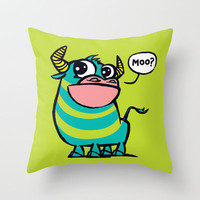 MooGrin Throw Pillow by Mirabilis