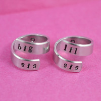 big sis / lil sis  - Spiral Ring Set, Hand stamped, Newsprint Font, Shiny Aluminum, Forever Love, Friendship, BFF, v3