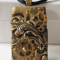 Gold Steampunk Pendant with Gears by steamheat on Etsy