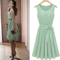 Mint Green Bow Chiffon Dress