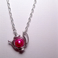 Dragon Pink Teapot Necklace In Silver