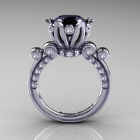French Antique 14K White Gold 3.0 CT Black and White Diamond Solitaire Wedding Ring Y235-14KWGDBD