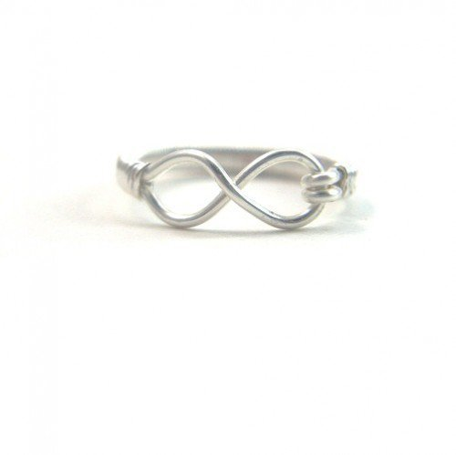 Silver Eternity Ring Handmade Wire Wrapped Infinity Symbol Size 7 | BrainofJen - Jewelry on ArtFire