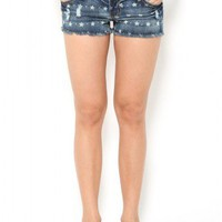 Denim Star Print Shorts - Shorts - Bottoms