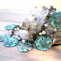 Verdigris Sand Dollar and Freshwater Pearl Charm Necklace