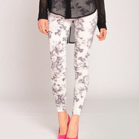 Art Deco Flower Pants in Gray