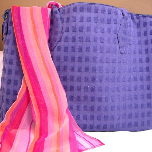Purple Briefcase in Soft Upholstery Fabric with Yellow Lining | GracefulArts - Bags & Purses on ArtFire