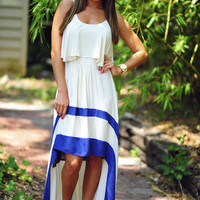 Smooth Seas Ahead Dress: Ivory/Navy | Hope's