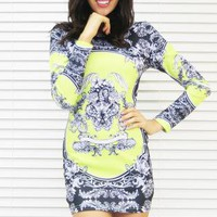 Dress Fierce Print Body Con in Citrus