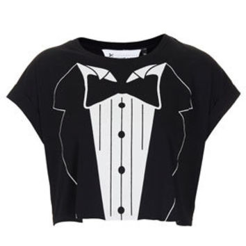 Tuxedo Crop Tee By Tee And Cake - Brands at Topshop - Jersey Tops  - Clothing