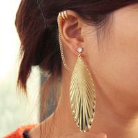 Diamond Leaf Tassel Ear Cuffs | LilyFair Jewelry